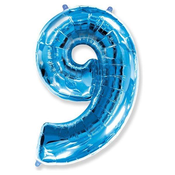 Фольгированная цифра 9 синий (102 см)