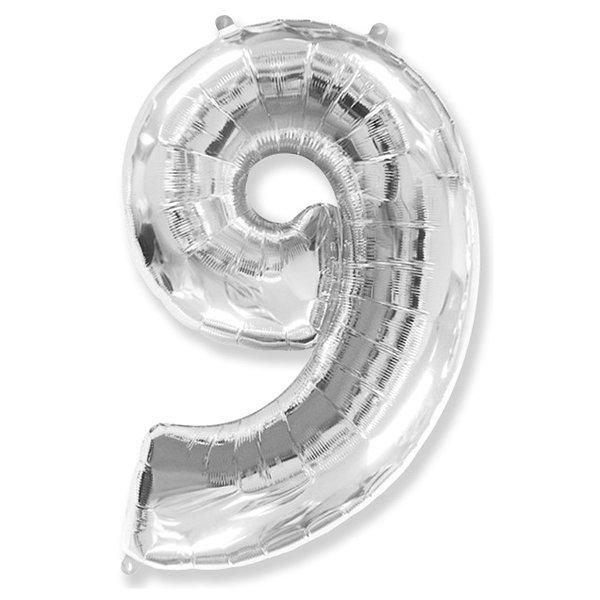 Фольгированная цифра 9 серебро (102 см)