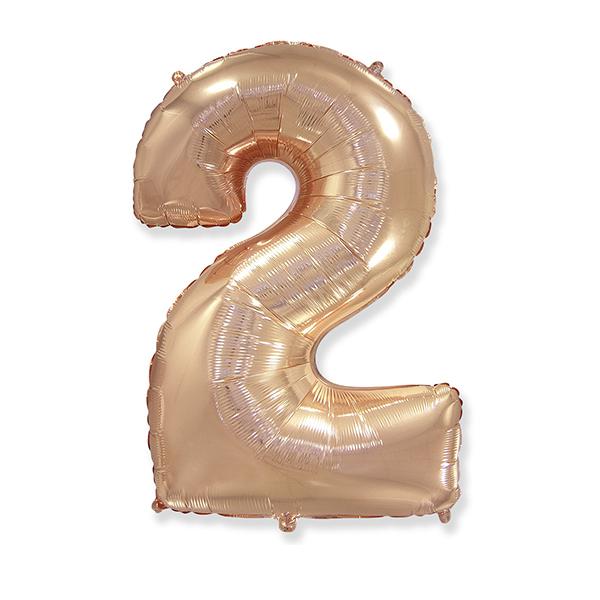 Фольгированная цифра 2 розовое золото (102 см)