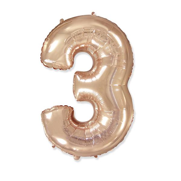 Фольгированная цифра 3 розовое золото (102 см)