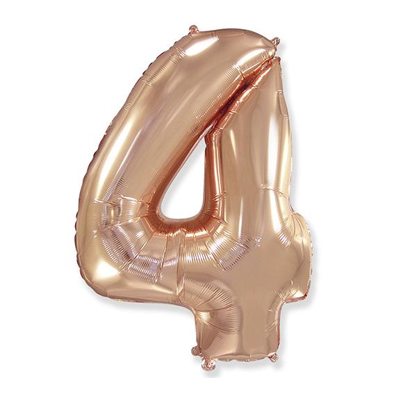 Фольгированная цифра 4 розовое золото (102 см)
