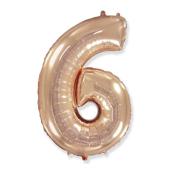 Фольгированная цифра 6 розовое золото (102 см)