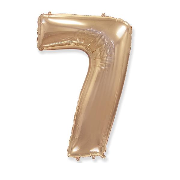 Фольгированная цифра 7 розовое золото (102 см)