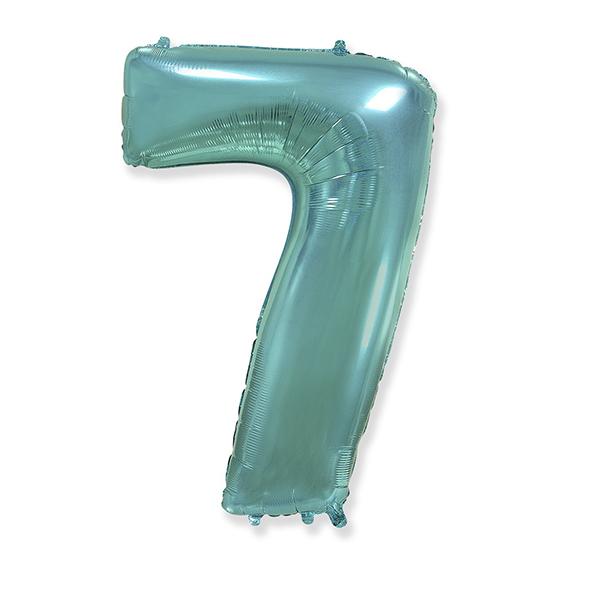Фольгированная цифра 7 тиффани (102 см)