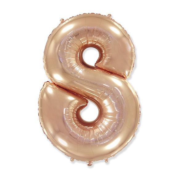 Фольгированная цифра 8 розовое золото (102 см)
