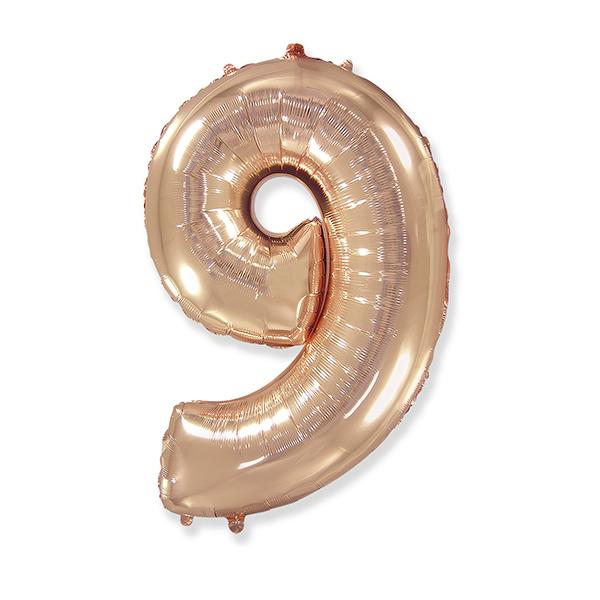 Фольгированная цифра 9 розовое золото (102 см)