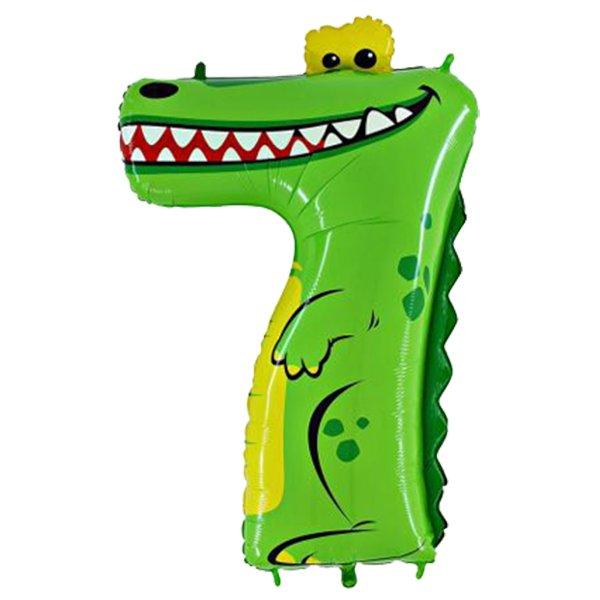 Фольгированная цифра 7 Крокодил (91 см)