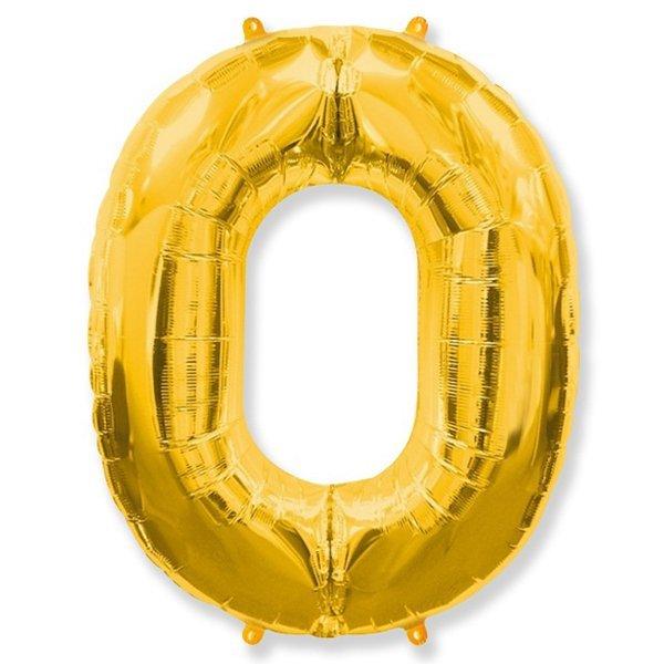 Фольгированная цифра 0 золото (102 см)
