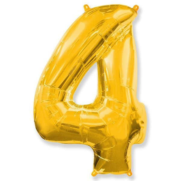 Фольгированная цифра 4 золото (102 см)