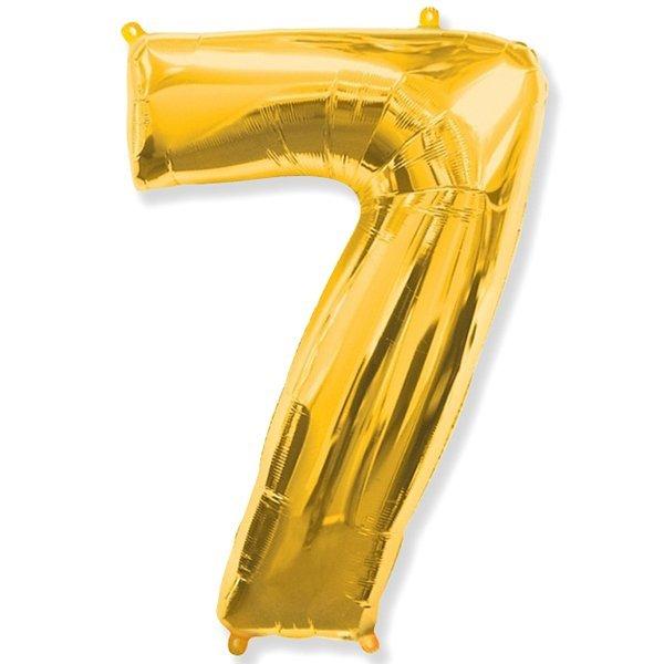 Фольгированная цифра 7 золото (102 см)