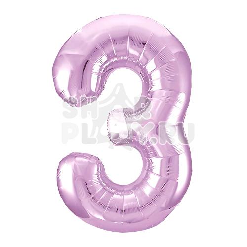 Фольгированная цифра 3, Нежно-розовый (102 см)