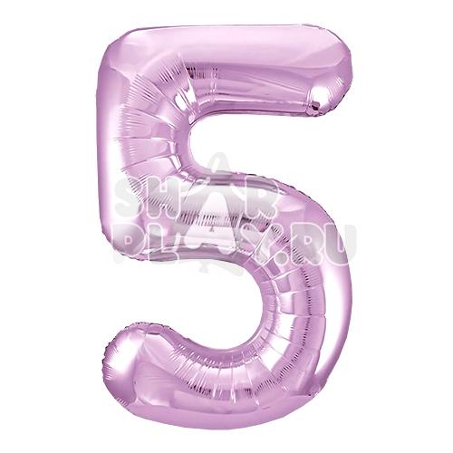 Фольгированная цифра 5, Нежно-розовый (102 см)