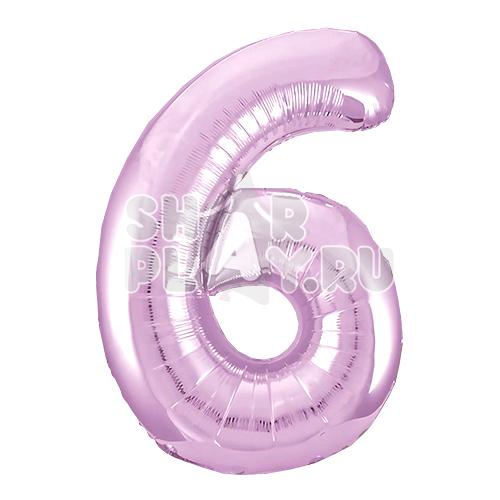 Фольгированная цифра 6, Нежно-розовый (102 см)