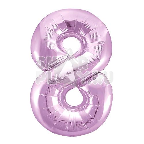 Фольгированная цифра 8, Нежно-розовый (102 см)