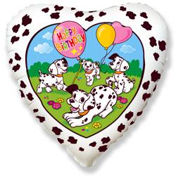 Фольгированное Сердце, С Днем рождения (далматинцы), Белый (46 см)