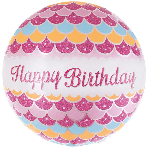 Фольгированный Круг, С Днем рождения (волны), Розовый (46 см)