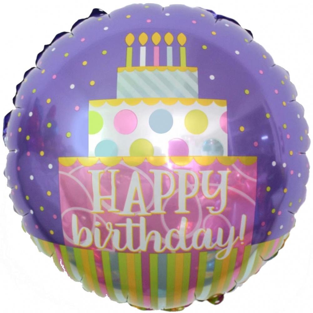 Фольгированный Круг, С Днем рождения (торт), Сиреневый (46 см)