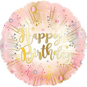 Фольгированный Круг, С Днем рождения (салют), Розовый (46 см)