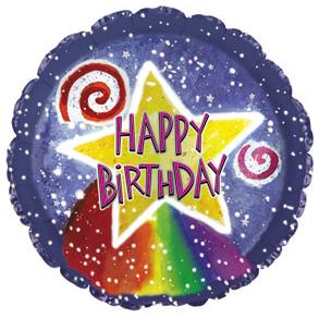 Фольгированный Круг, С Днем рождения (звезда и радуга), Синий (46 см)