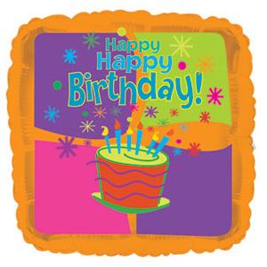 Фольгированный Квадрат, С Днем рождения (торт), Оранжевый (46 см)