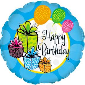 Фольгированный Круг, С Днем рождения (воздушные шары и подарки), Голубой (46 см)
