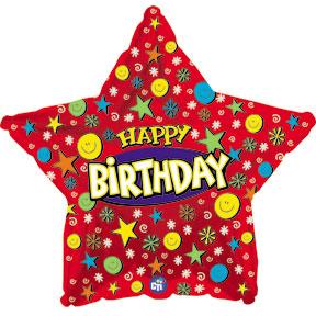 Фольгированная Звезда, С Днем рождения (улыбки), Красный (46 см)
