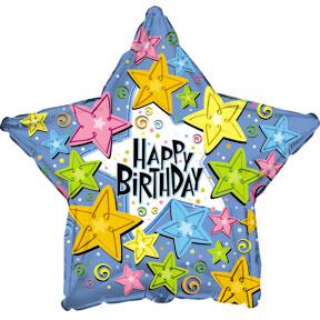 Фольгированная Звезда, С Днем рождения (звезды), Голубой (46 см)