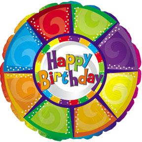 Фольгированный Круг, С Днем рождения (разноцветный) (46 см)