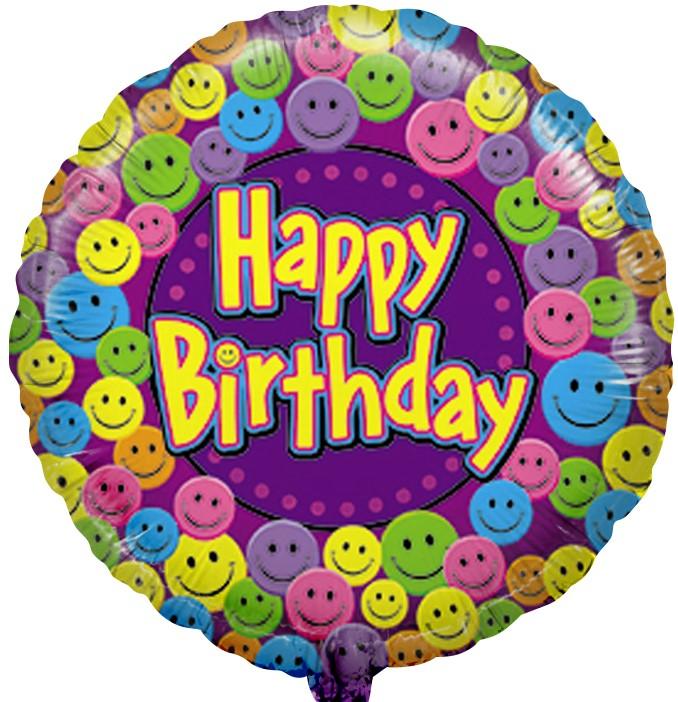 Фольгированный Круг, С Днем рождения (улыбки), Фиолетовый (46 см)