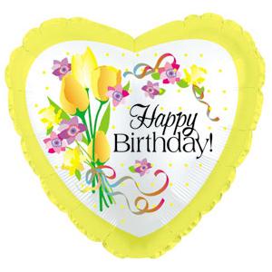Фольгированное Сердце, С днем рождения (желтые цветы), Желтый (46 см)