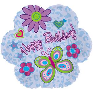Фольгированная Фигура, Цветок С Днем рождения (ромашки), Голубой (46 см)