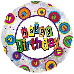 Фольгированный Круг, С Днем рождения (танцующие подарки), Голография (46 см)