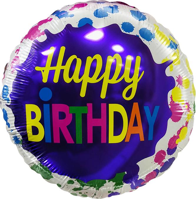 Фольгированный Круг, С Днем рождения (кляксы) (46 см)