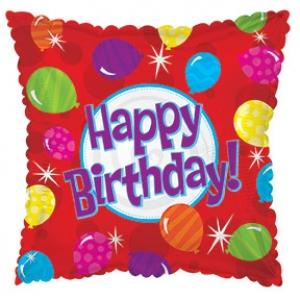 Фольгированный Квадрат, С Днем рождения (яркие шары), Красный (46 см)