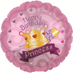 Фольгированный Круг, С Днем рождения (корона принцессы), Розовый (46 см)