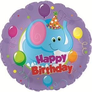 Фольгированный Круг, С Днем рождения (слоник), Фиолетовый (46 см)