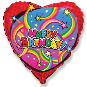 Фольгированное Сердце, С Днем рождения (звезды), Красный (46 см)