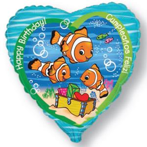 Фольгированное Сердце, С Днем рождения (рыба-клоун) (46 см)
