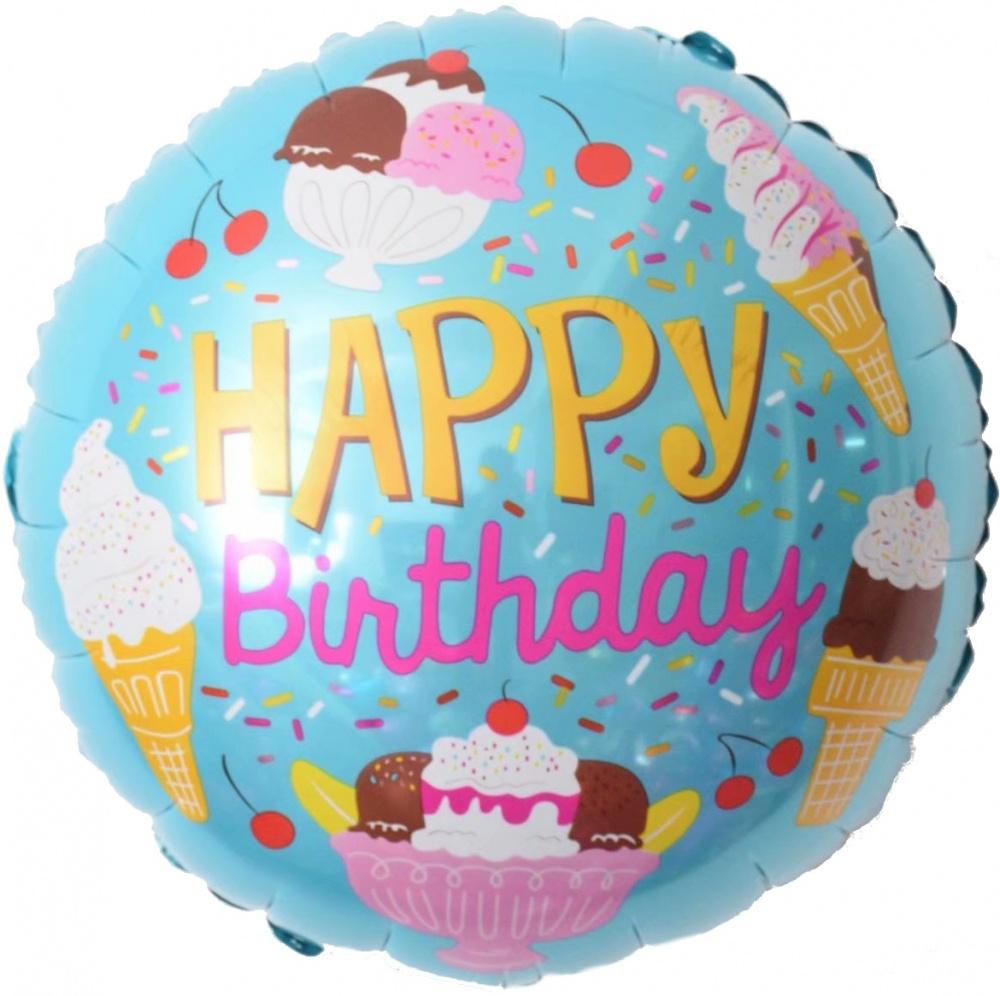 Фольгированный Круг, С Днем рождения (мороженое), Голубой (46 см)
