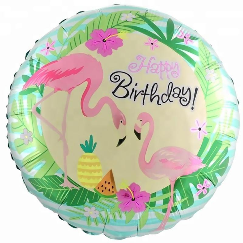 Фольгированный Круг, C Днем Рождения (фламинго) (46 см)