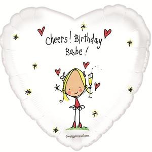 Фольгированное Сердце, С днем рождения (детка), Белый (46 см)