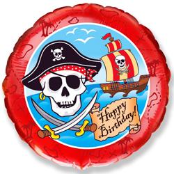 Фольгированный Круг, С Днем рождения (пират), Красный (46 см)