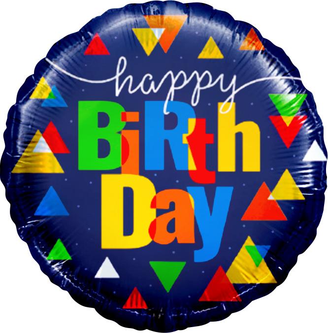 Фольгированный Круг, С Днем рождения (треугольники), Синий (46 см)