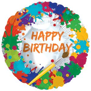 Фольгированный Круг, С Днем рождения (краски и кисть), Белый (46 см)