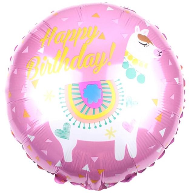 Фольгированный Круг, С Днем рождения (лама), Розовый (46 см)