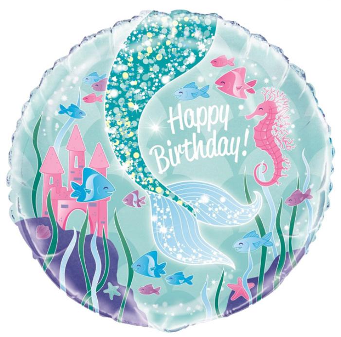 Фольгированный Круг, С Днем рождения (хвост Русалочки), Голубой (46 см)