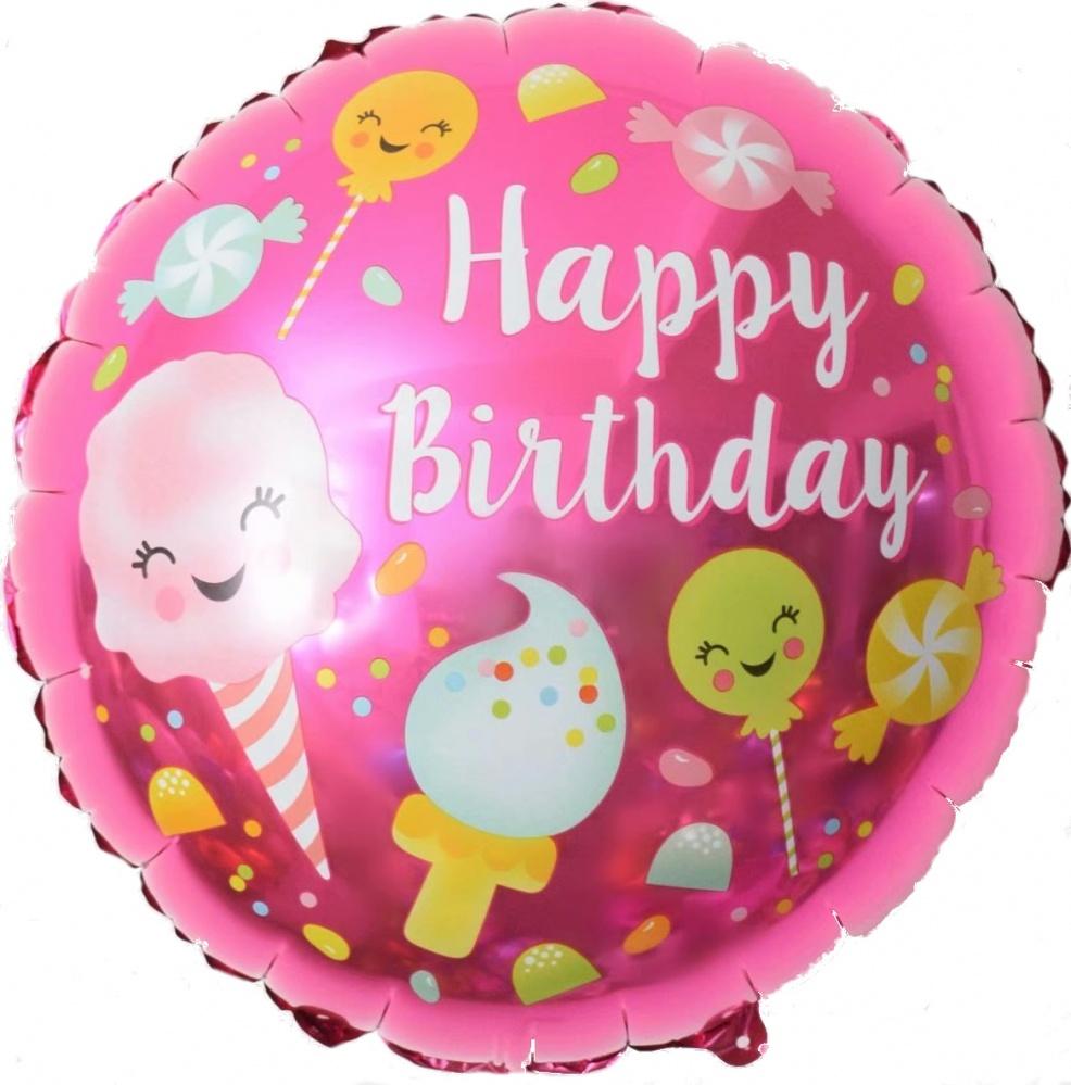 Фольгированный Круг, С Днем рождения (сладости), Розовый (46 см)