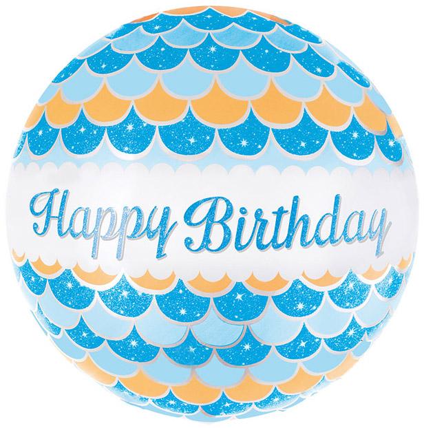 Фольгированный Круг, С Днем рождения (волны), Голубой (46 см)