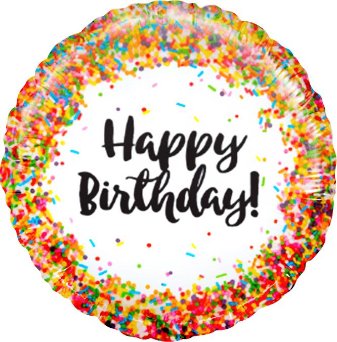 Фольгированный Круг, С Днем рождения (конфетти), Белый (46 см)