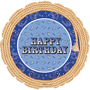 Фольгированный Круг, С Днем рождения (веревочка с кисточкой), Синий (46 см)
